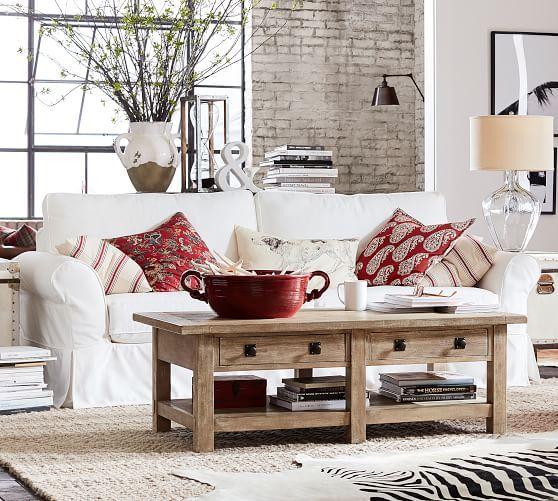 Delightful PB Comfort Roll Arm Slipcovered Sofa #potterybarn