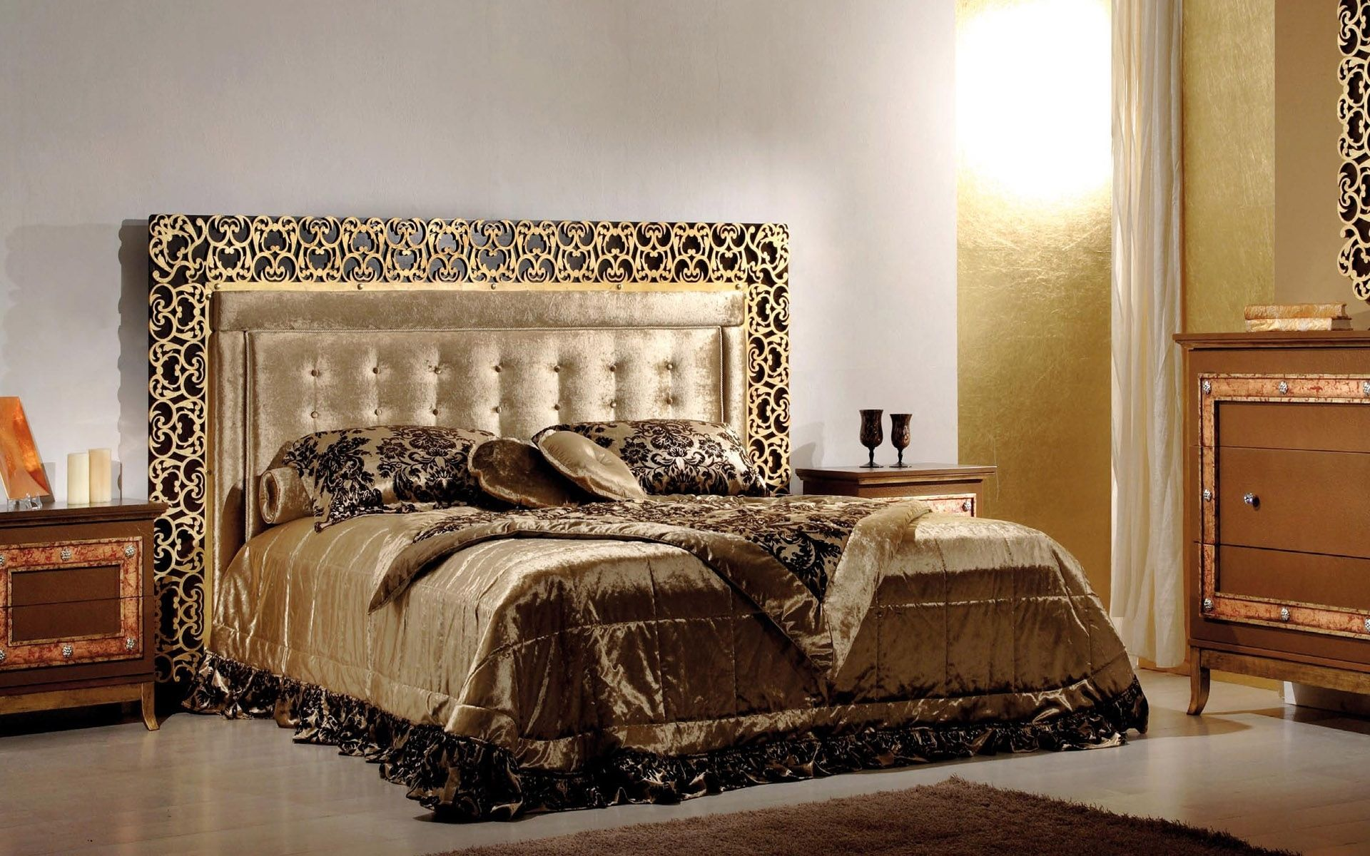 Luxury inspiration bed collection design modern gold black for Bedroom decor sets