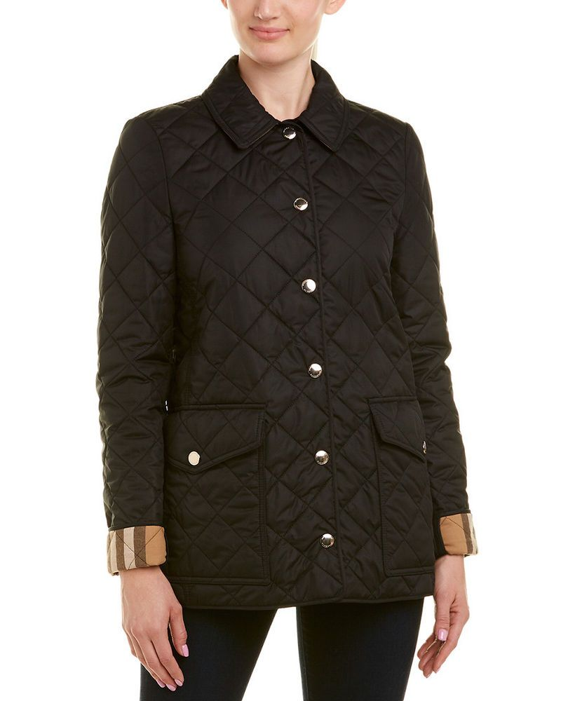 Burberry Womens Check Detail Diamond Quilted Jacket S Black Fashion Clothing Shoes Accessories Womenscloth Jackets Quilted Jacket Burberry Quilted Jacket