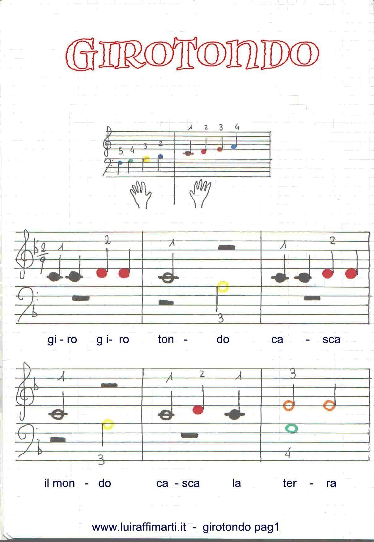 Giro Girotondo Casca Il Mondo Spartito Grandi Note Colorate Nel 2020 Spartiti Musicali Pianoforte Suonare Il Pianoforte