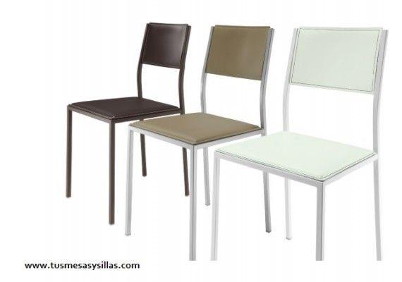 sillas de cocina patas metalicas y madera lacada