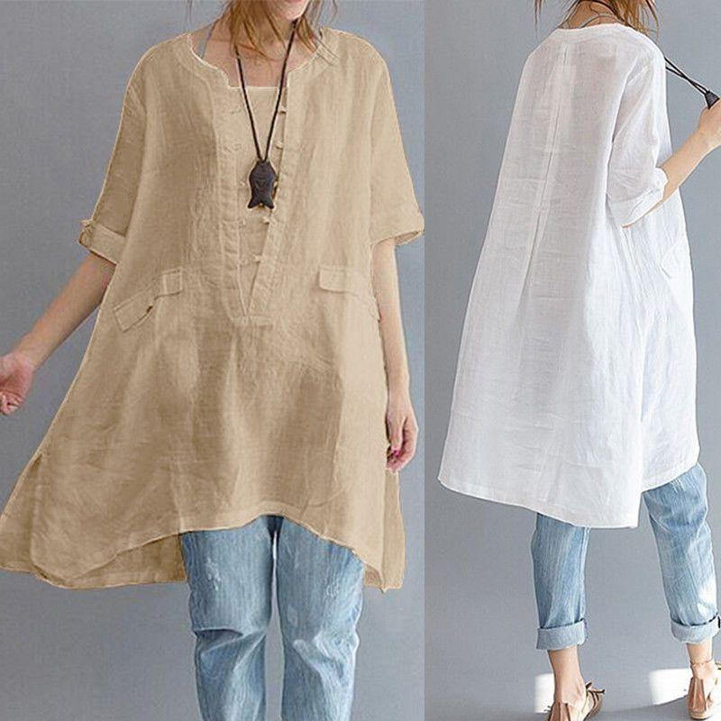 61a78f9131ed4 ZANZEA Women Summer Short Sleeve Irregular Cotton Tops T-shirt Blouse Plus  Size  ZANZEA  Tunic  Casual