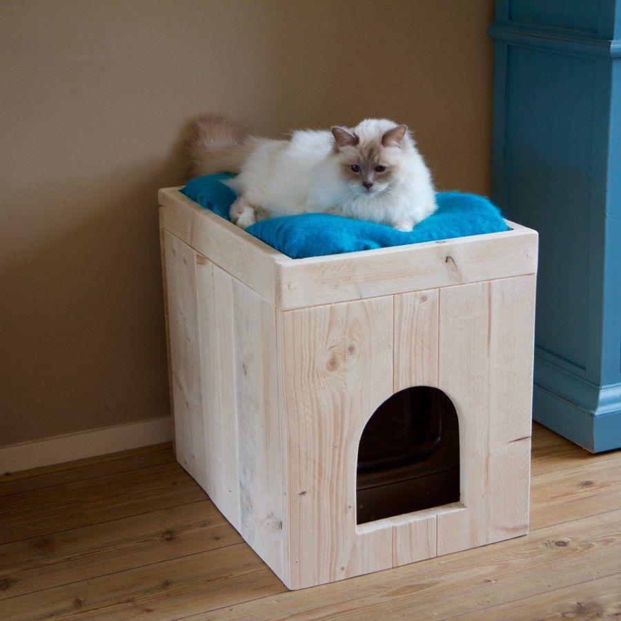 Kattenbak Ombouw Van Steigerhout Home Kattenbak