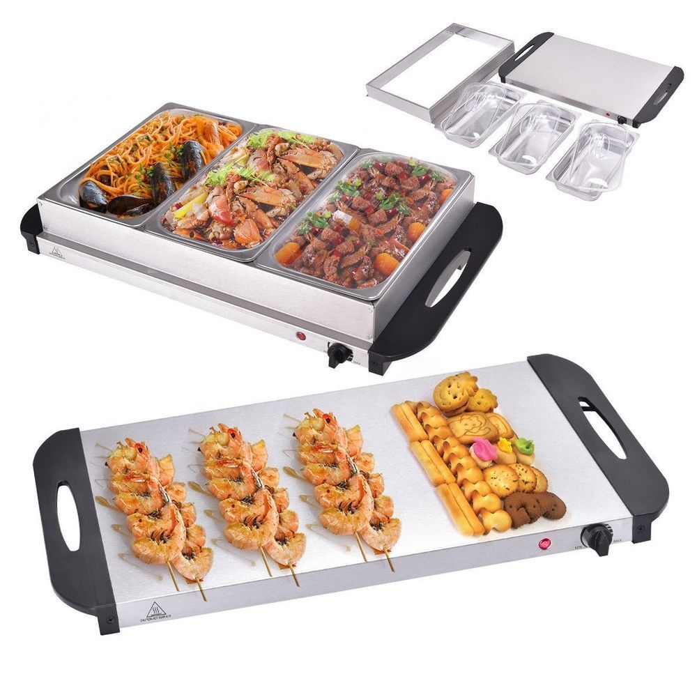 25 quart 3tray stainless steel buffet server food warmer