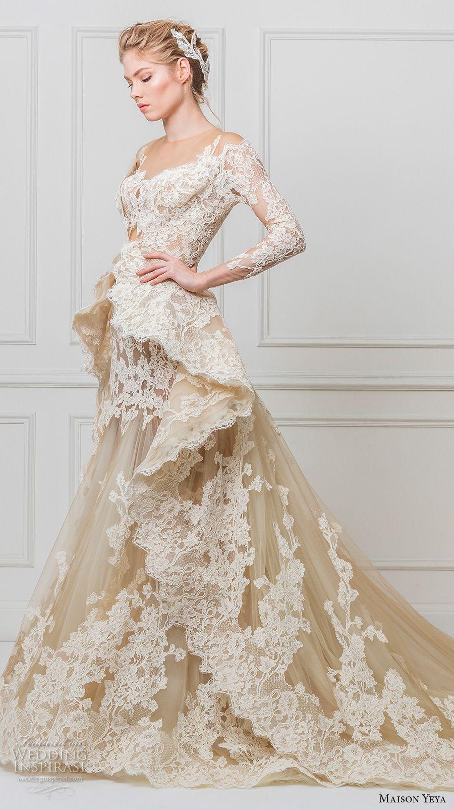 Maison Yeya 2017 Bridal Three Quarter Sleeves Illusion Jewel Off The Shoulder Full Embellishment Peplum Ivory Elegant Glamourous Lace A Line Wedding Dress