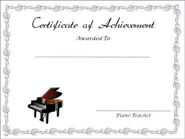 Certificate of Achievement: white with treble clef border