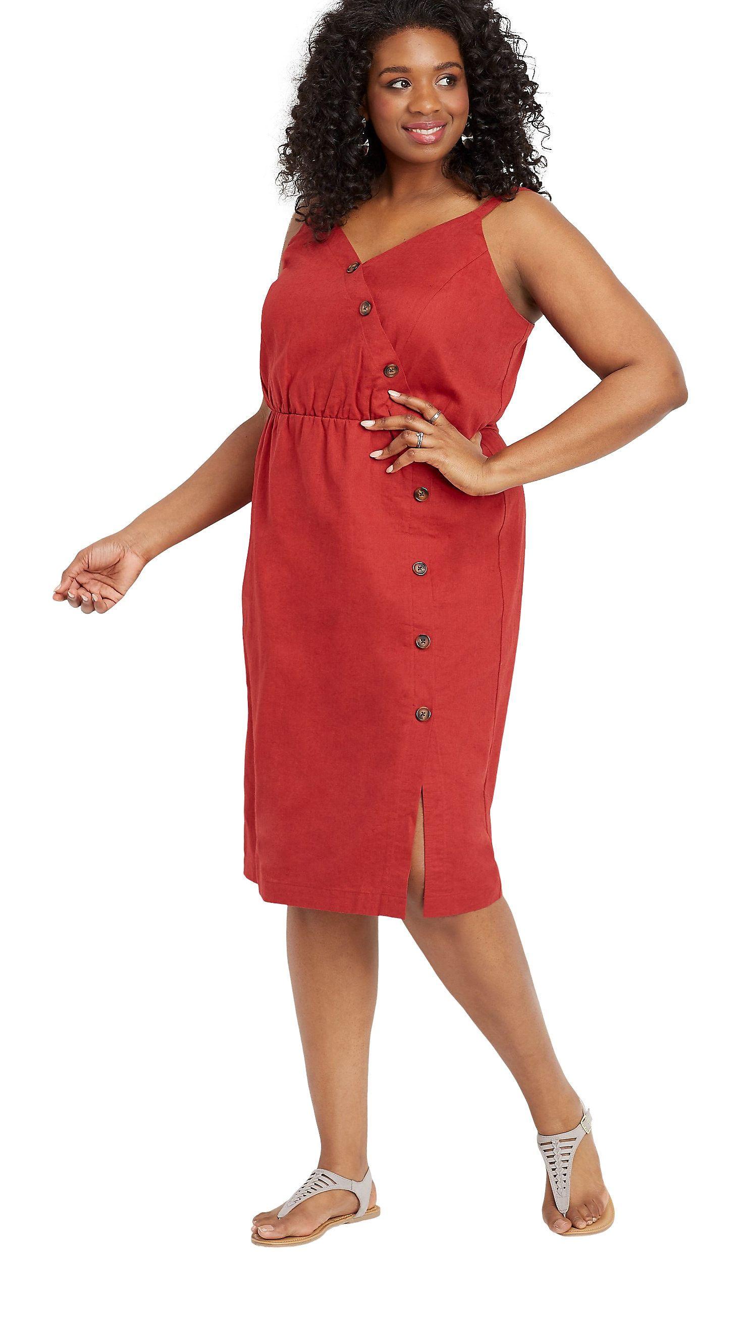 Plus Size Linen Button Front Dress Sponsored Plussize Walmartfashion Wedressamerica Looks [ 2659 x 1466 Pixel ]