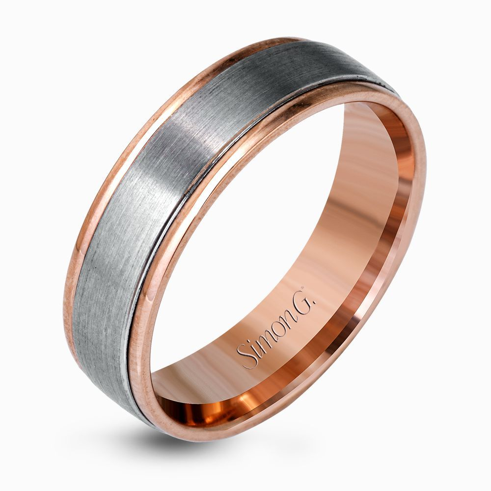 A Center Of Brushed Platinum Is Encircled By Twin Ribbons Striking Rose Gold In This Stunning Men S Contemporary Two Tone Wedding Band Print Page