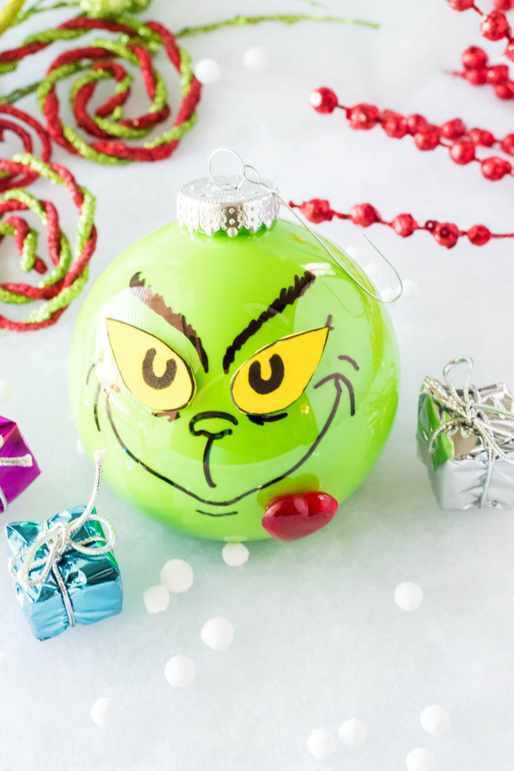 This Diy Grinch Ornament Is Easy To Make And The Perfect Addition To Any Christm Homemade Christmas Ornaments Diy Grinch Ornaments Grinch Christmas Decorations