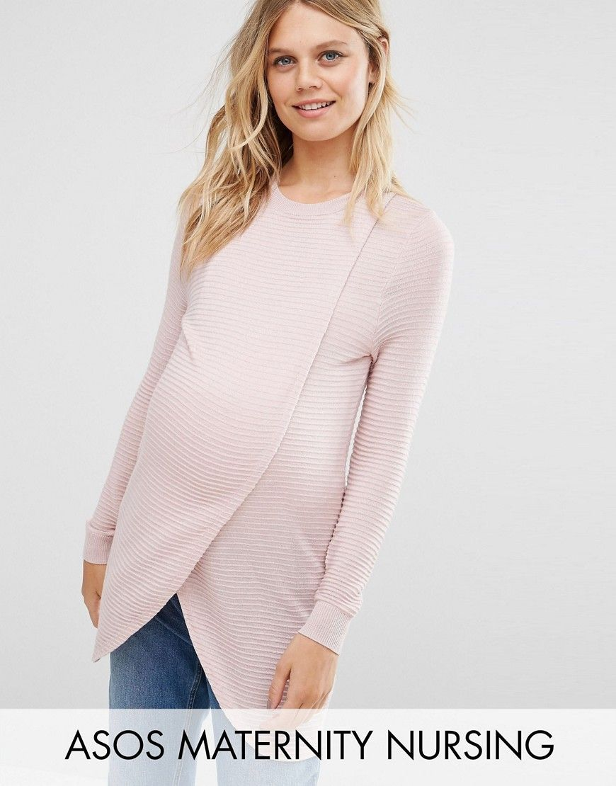 786f7a84fc0d8 Maternity NURSING Wrap Over Sweater in Textured Stripe | Products ...