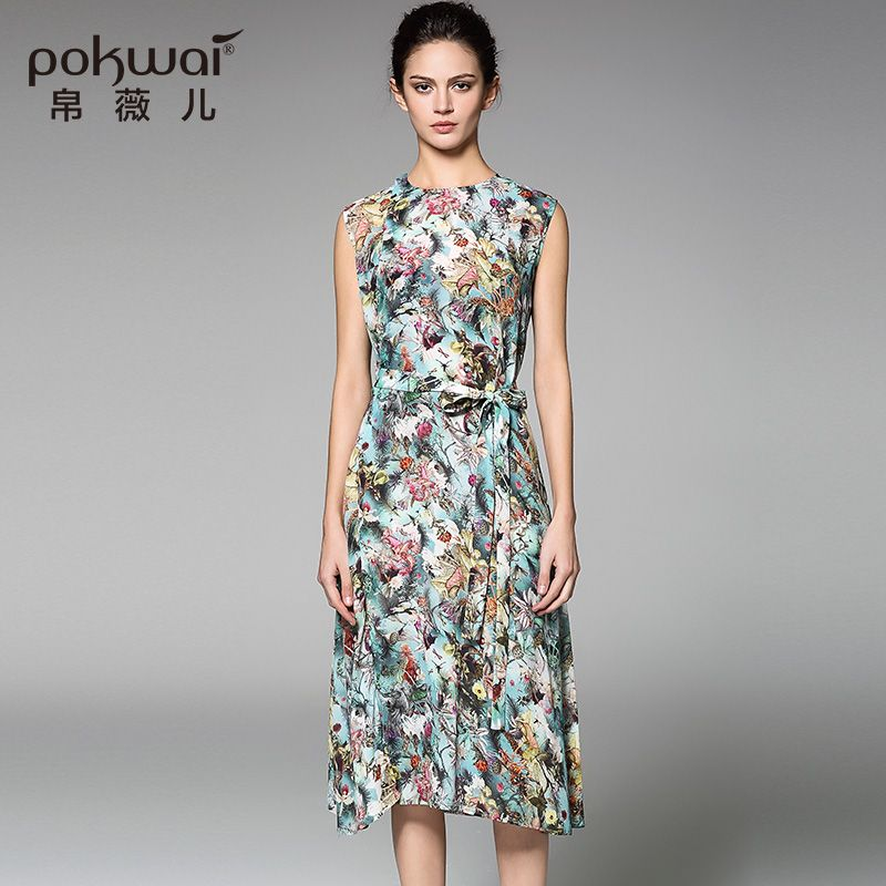 Cheap summer silk dress, Buy Quality silk dress directly from China a-line  dress Suppliers: POKWAI Casual Summer Silk Dress High Quality Women Fashion  2017 ...