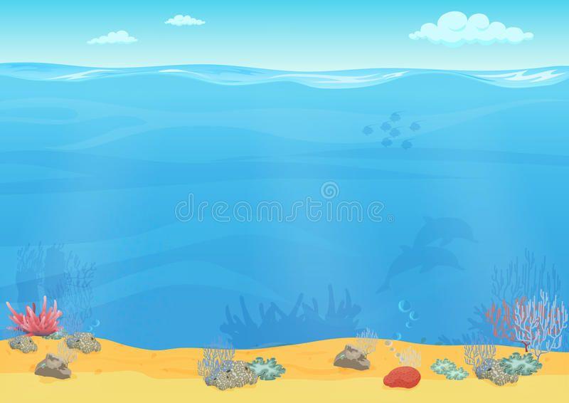 Photo About Cartoon Sea Bottom Background For Game Design Underwater Empty Seamless Landscape Illustration O Ocean Illustration Sea Illustration Illustration