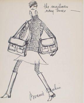 "Orignal fashion sketch by Bonnie Cashin 1970, bag design called ""the mailman rang twice""."