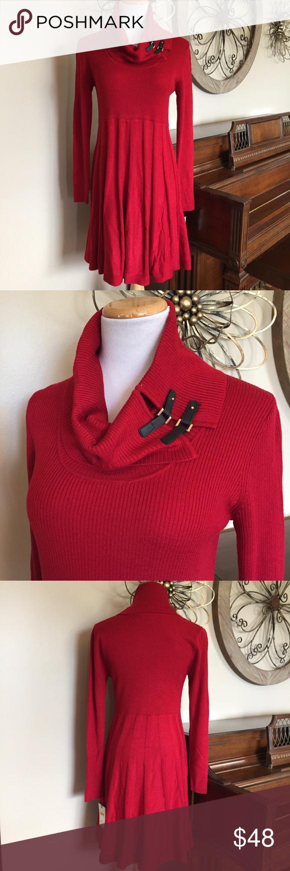 Nwt dana buchman large red cowl neck sweater dress cowl neck