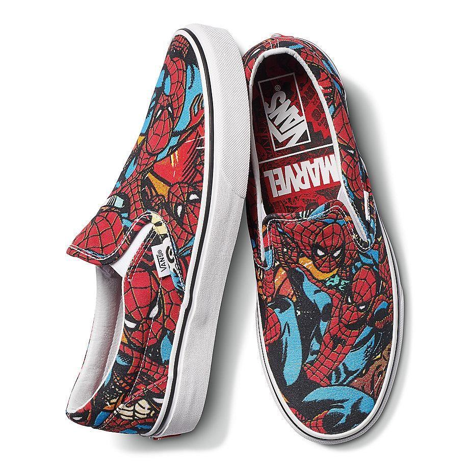 MENS VANS CLASSIC Slip On Marvel Spiderman Skateboard Shoes
