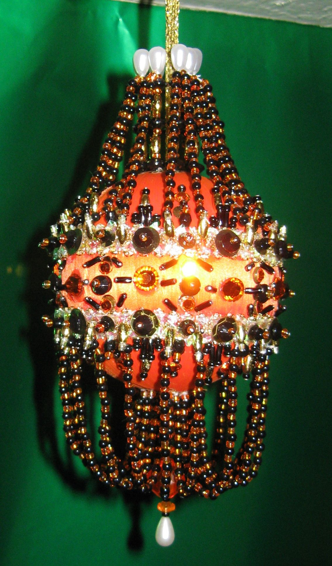Black beads on orange satin ball ornament   Halloween ...