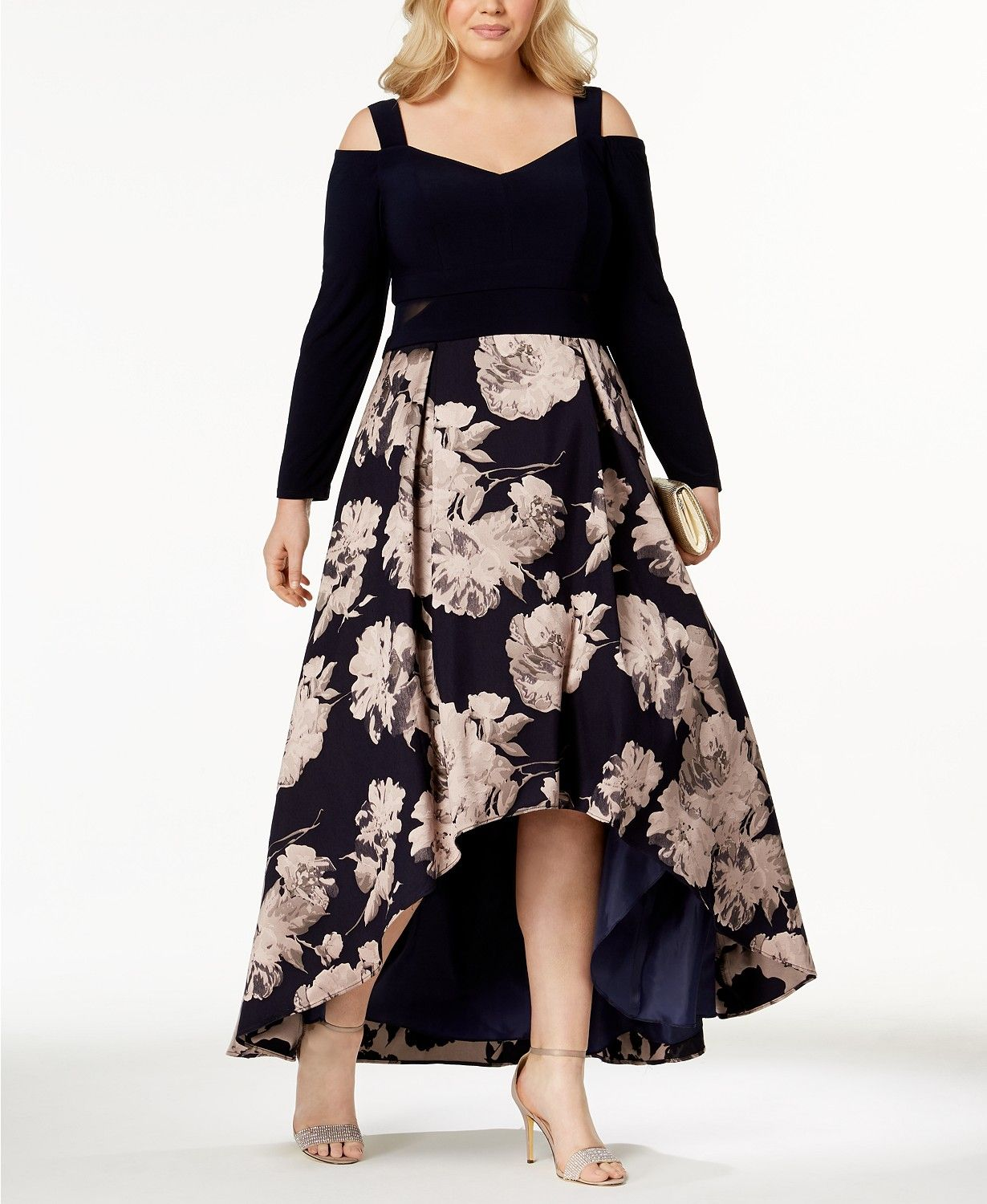 4cdb300f Xscape Plus Size Printed High-Low Gown | macys.com | Evening gown ...