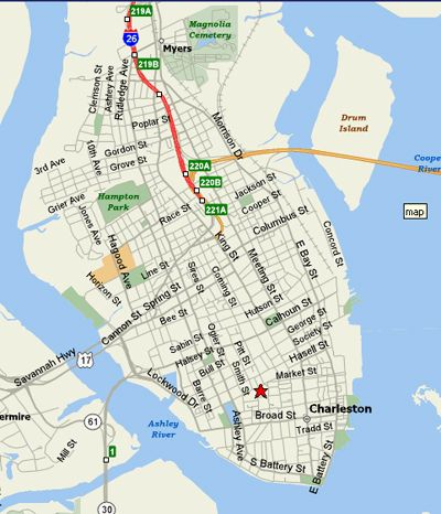 Click To Enlarge Map Of Charleston Downtown Sc Usa Myrtle Beach