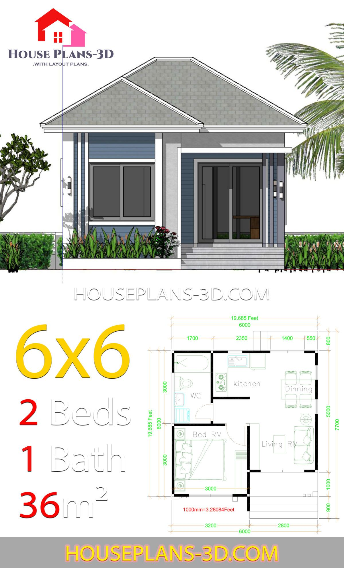 House Plans 6x6 With One Bedrooms Hip Roof In 2020 House Plans House Roof Tiny House Plans