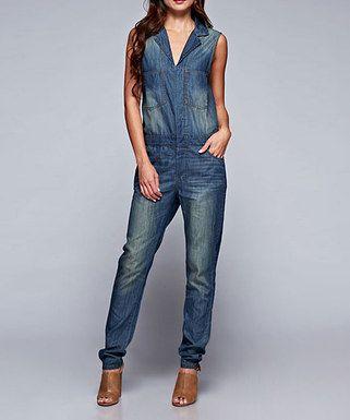 Medium Blue Distressed Denim Pocket Sleeveless Jumpsuit