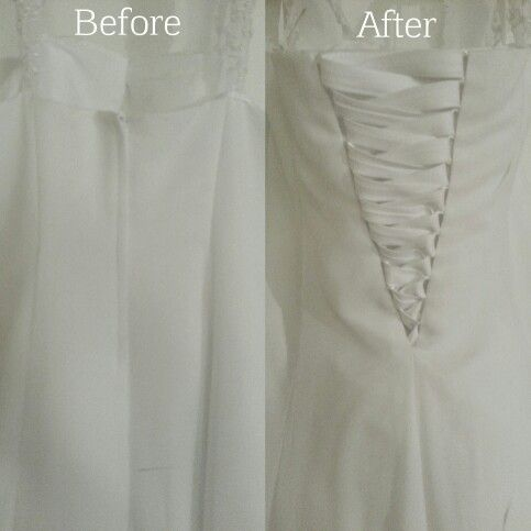 If Your Dress Is Too Small Adding A Corset Back Is A Great Way To Add More Room With A Beautiful S Sewing Wedding Dress Bridal Alterations Wedding Dress Backs