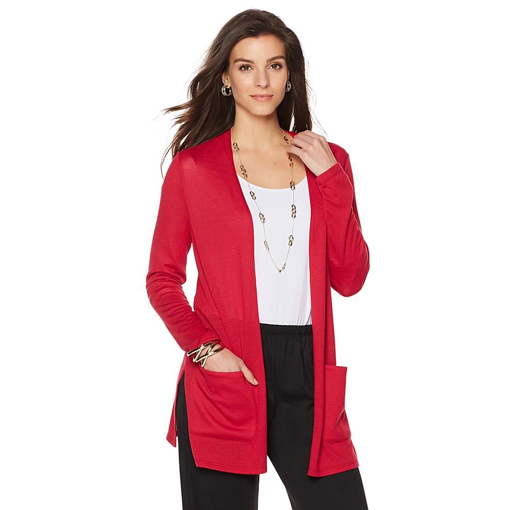 Slinky® Brand 3/4-Sleeve Sweater Duster with Pockets -