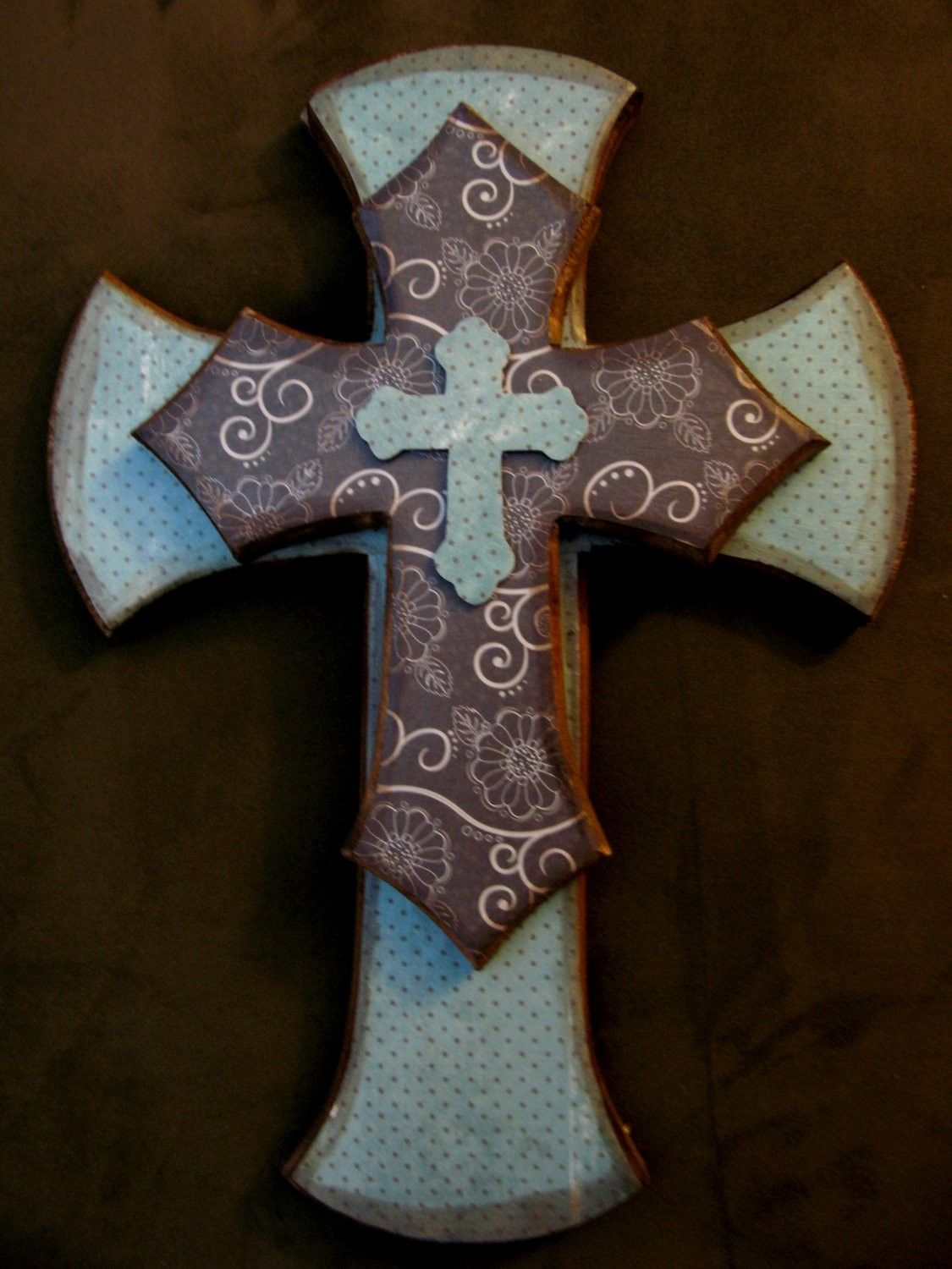 Decorative Wooden Crosses Stacked Cross Wall Hanging By Overflowingblessings