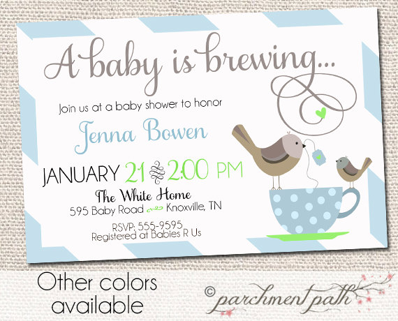 Baby Is Brewing Shower Invitation Coffee Or Tea Printable