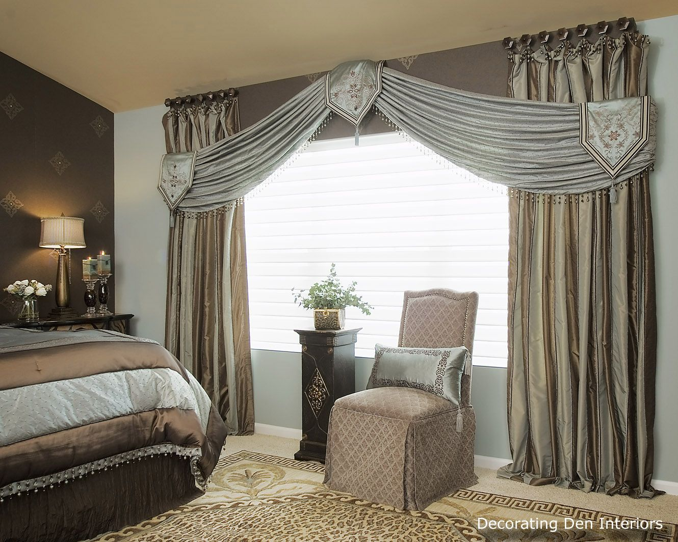 Formal and romantic bedroom draperies and valance Luxury