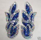 0171 ~ BLUE  SILVER SEQUIN BEADED APPLIQUE PAIR 5.5 - http://sewingpins.net/sewing/notions/0171-blue-silver-sequin-beaded-applique-pair-5-5/