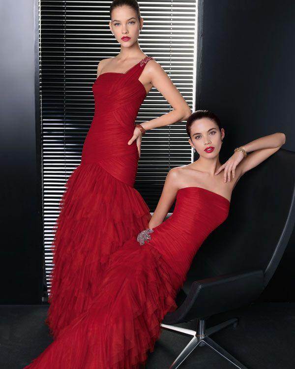 Modelos de vestidos largos color rojo