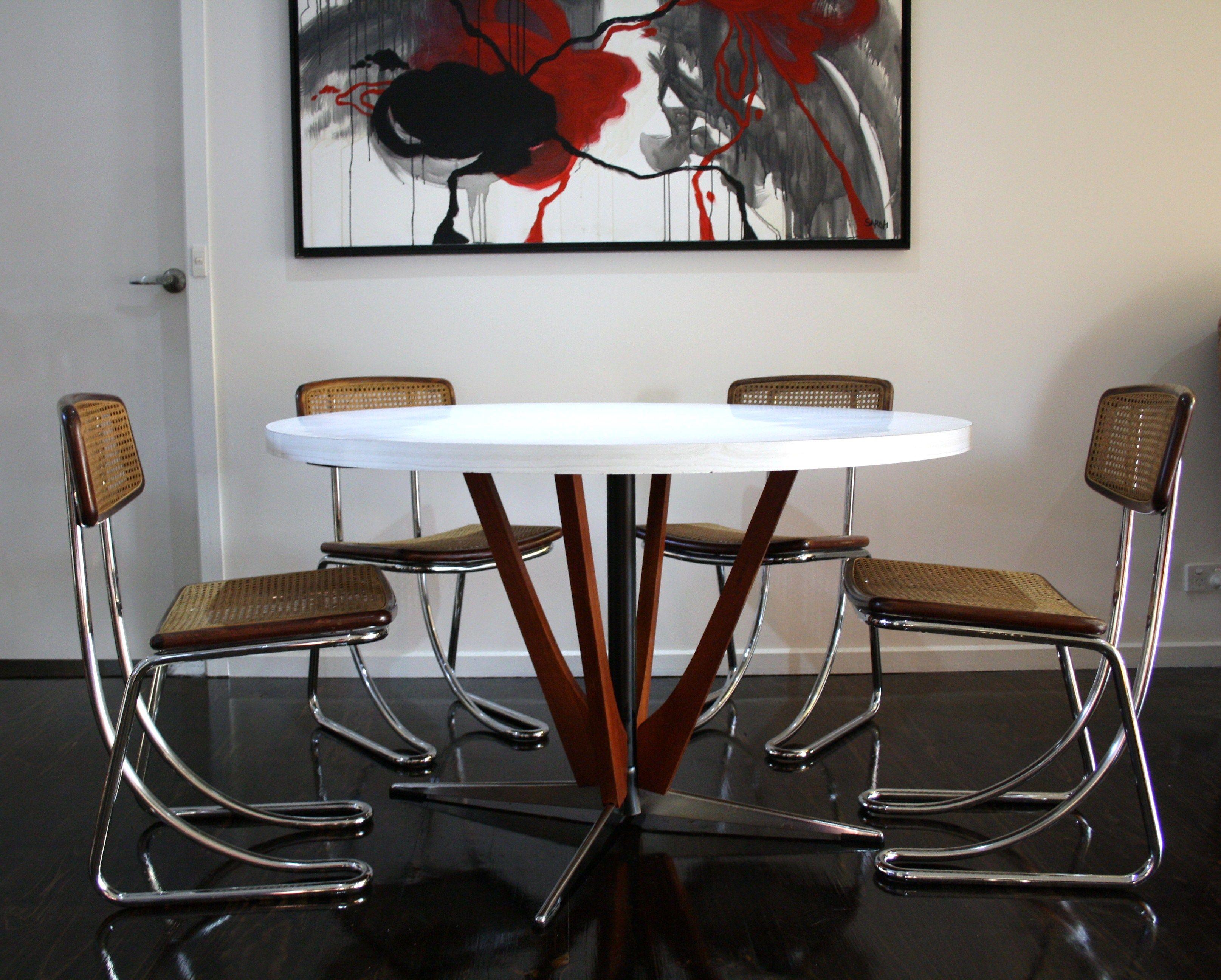 mid century teak laminex dining table chrome cane rattan