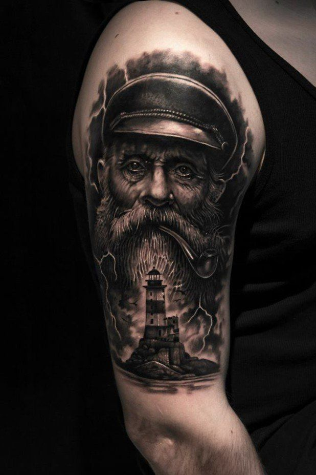 fe9cdebbb 15 Powerful Nautical Tattoos ... men face tattoo on upper sleeve 60 brilliant  3d arm tattoos realistic Nautical