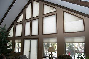 Hunter Douglas Duette Angled Top Slant Trapezoid Window Shape Vignette Cottage Windows Bedroom