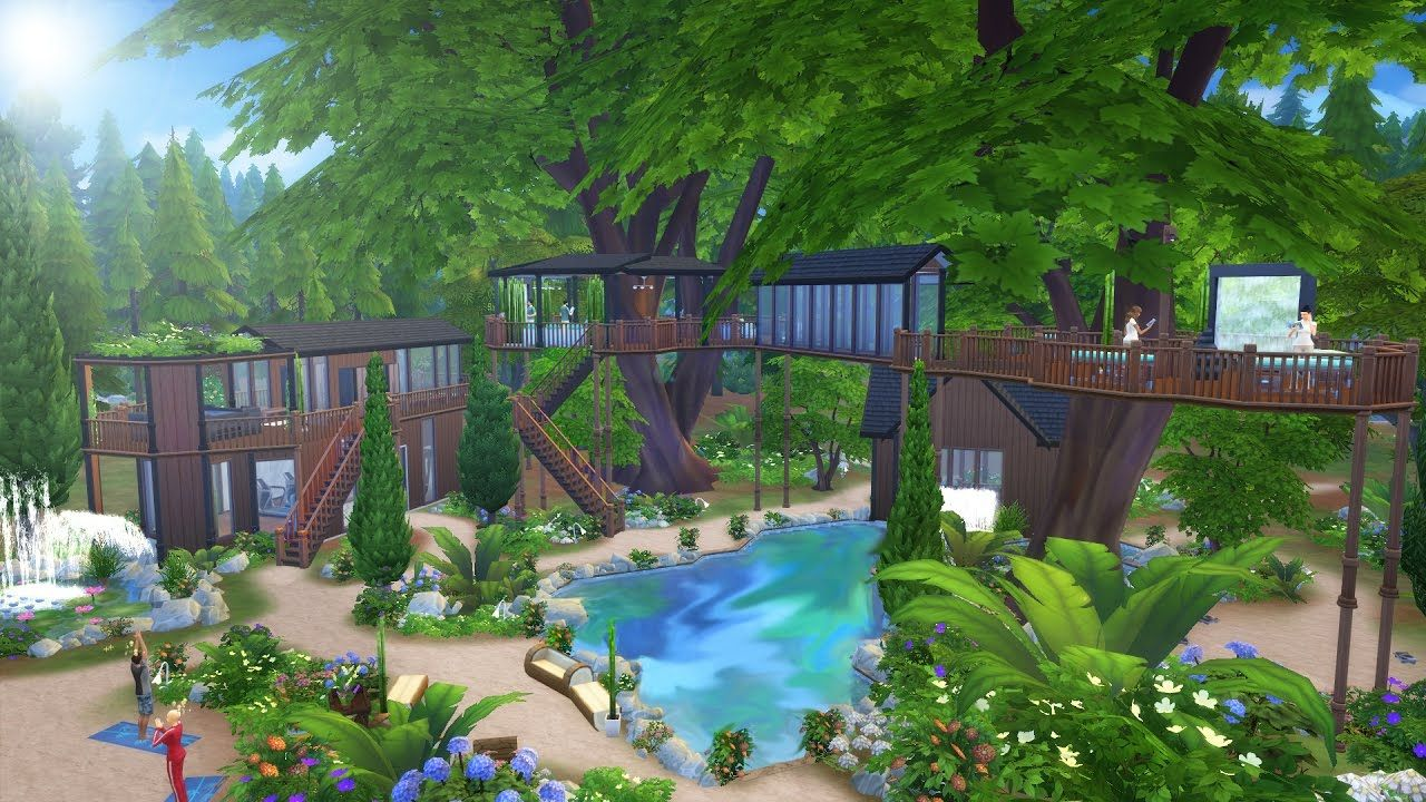 The Sims 4 Speed Build Two Tree Spa Gym Outdoor Spa Sims 4 Sims