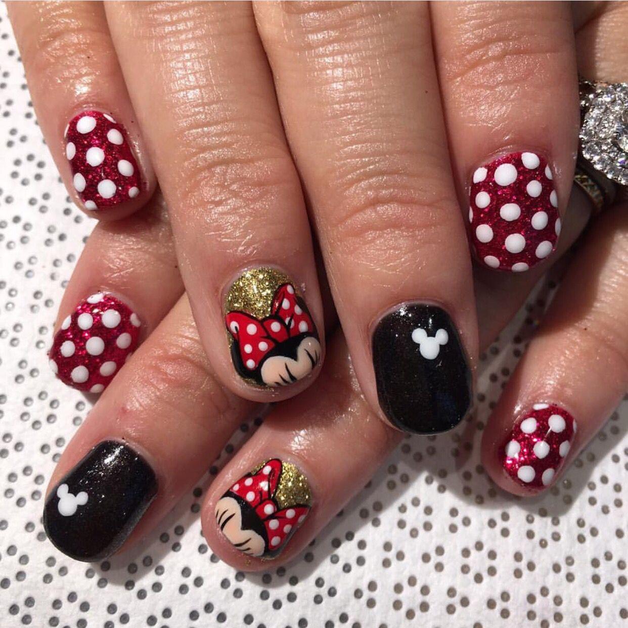 Minnie Mouse - Nail Art   Pinterest