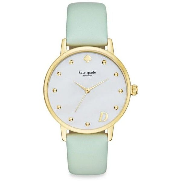 Kate Spade New York Gold Womens Gold-Tone Metro Monogrammed D Mint... found on Polyvore featuring jewelry, watches, gold, monogram jewelry, kate spade jewelry, kate spade watches, goldtone jewelry and dial watches