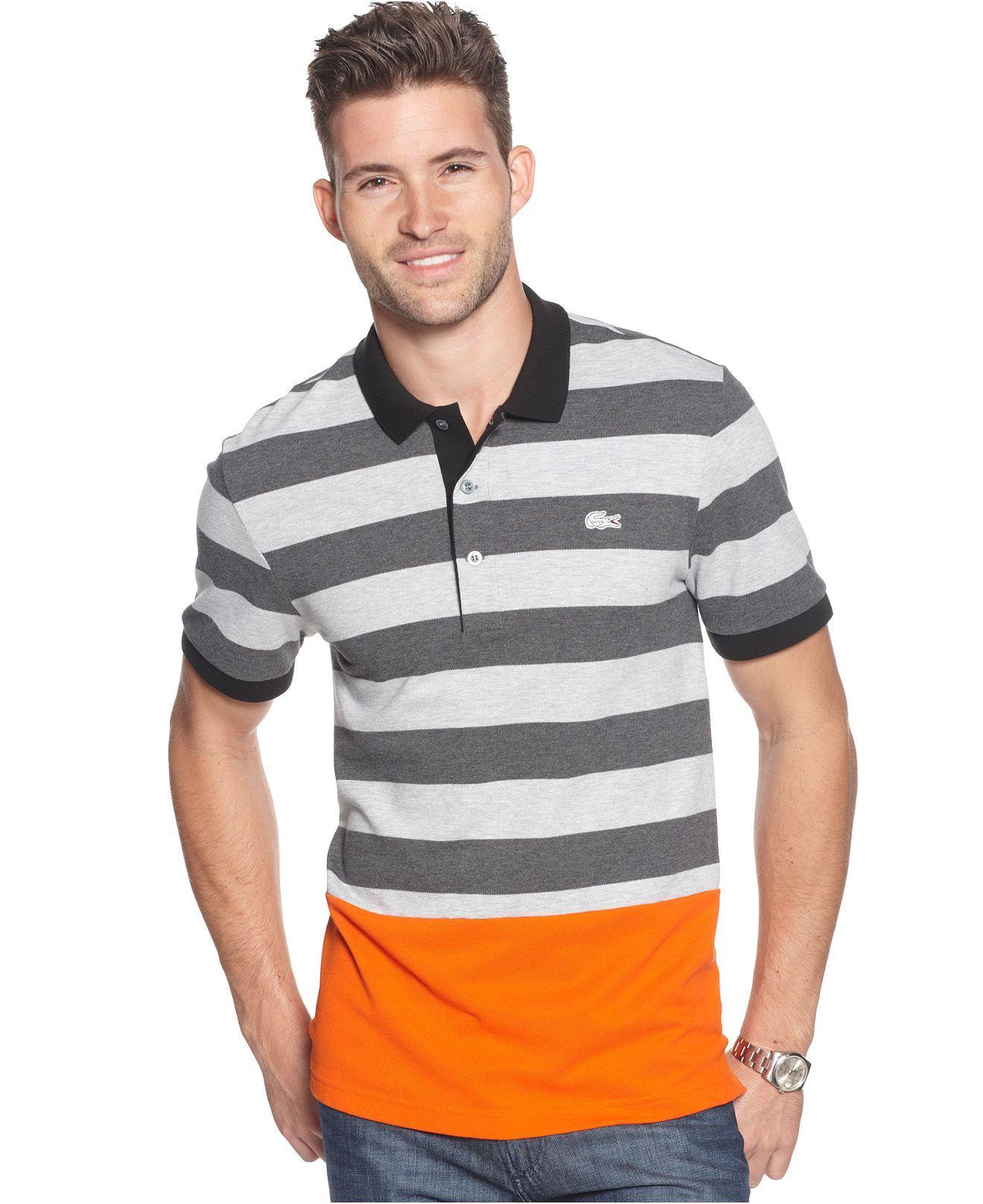 lacoste shirt mens orange