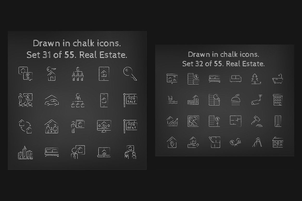 1100 Chalkboard vector icons pack (With images