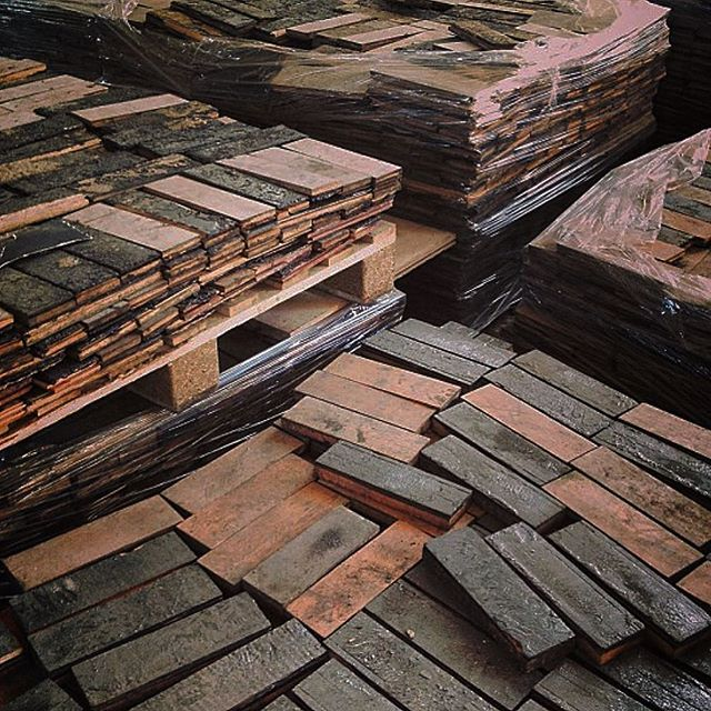 Some of our reclaimed solid parquet blocks with original