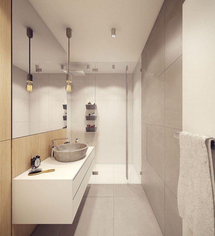 Schön Badezimmer In Naturtönen   Weiß, Steingrau Und Helles Holz, Badezimmer
