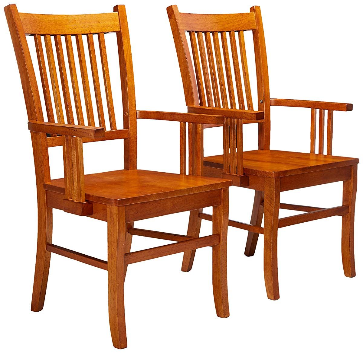 Dining arm chairs mission style medium brown finish