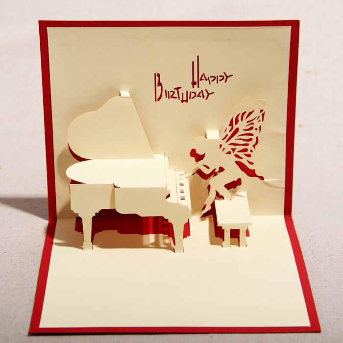 Red blue handmade 3d pop up birthday greeting cards with piano red blue handmade 3d pop up birthday greeting cards with piano angel free shipping bookmarktalkfo Choice Image