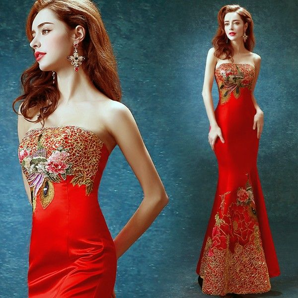 Classic Red Chinese Mermaid Wedding Dress with Flower Embroidery ...