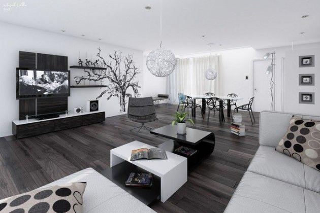 20 Wunderbare Schwarz Weiß Zeitgenössische Wohnzimmer Designs   Schwarz Wei  Wohnzimmer