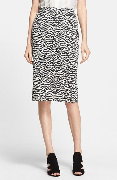 Veronica Beard Tiger Pattern Cotton Piqué Pencil Skirt available at #Nordstrom