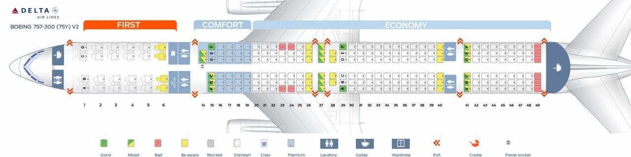 First Cabin Version And Seats Map Of The Boeing 757 300 75y Delta Air Lines Boeing 757 Seating Plan Delta Airlines