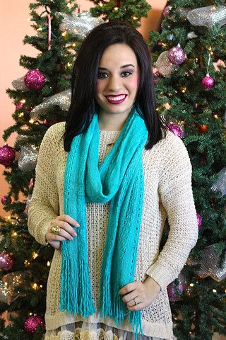 On My Way Knit Scarf - Teal