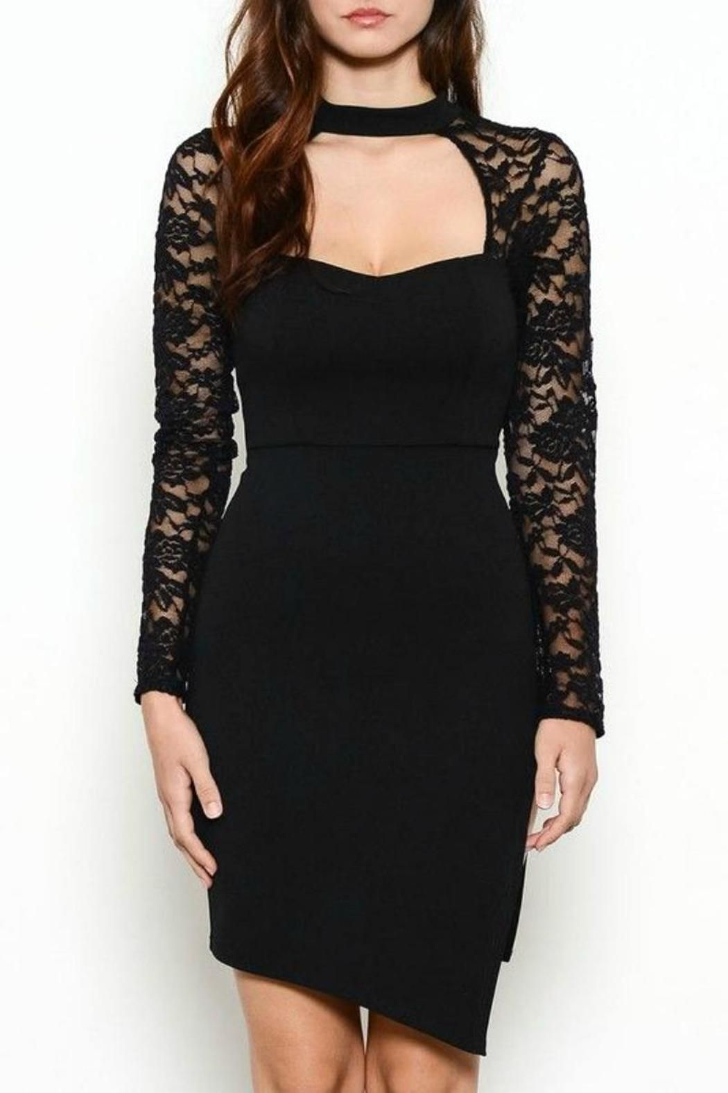Lace black dress sexy a button and lace