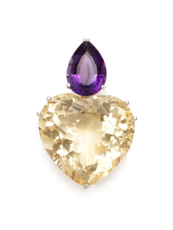 Tiffany & Co. Paloma Picasso Ca. 1980's Amethyst & Citrine Heart Pendant
